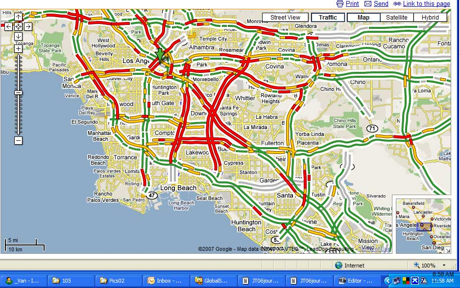 Google Traffic Map Los Angeles.A Google Map Of Traffic In Los Angeles At That Moment